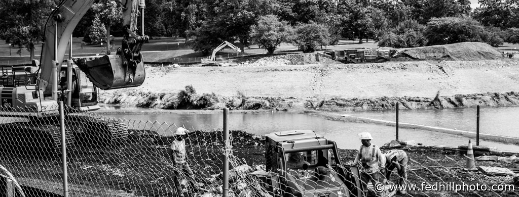 Construction crew working at Druid Hill Lake.
